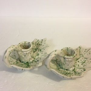 70s  Holly Leaves Ceramic Candlestick Holders